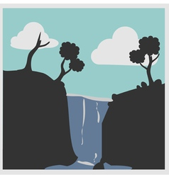 Hill with waterfalls vector