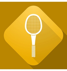 Icon of tennis racket with a long shadow vector