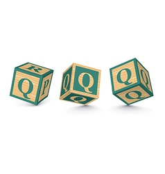 Letter q wooden alphabet blocks vector