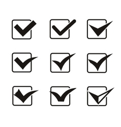 Set of nine different grey and white check marks vector