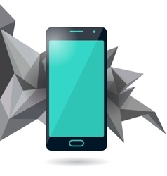 Mobile phone with polygonal background vector