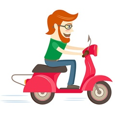 Funny hipster character riding red scooter vector