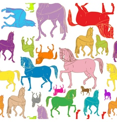 Pattern of colored horses vector