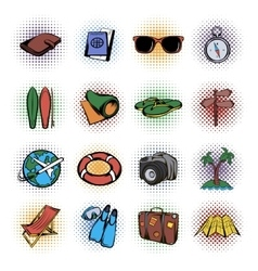 Travel comics icons set vector