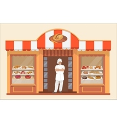 Bakery shop building with bakery products and vector