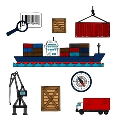 Shipping and delivery industry icons vector