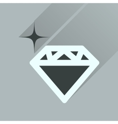 Flat icon with long shadow diamond shiny vector