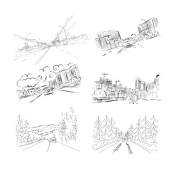 Cars on city road set of hand drawn vector