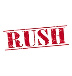 Rush red grunge vintage stamp isolated on white vector