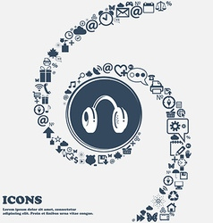 Headsets icon sign in the center around the many vector