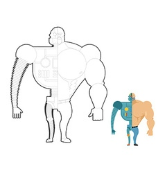 Bionic robot coloring book Cyber-man of future vector image vector image