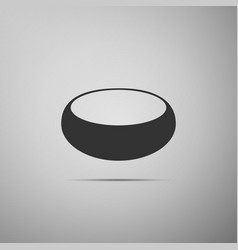 Bowl flat icon on grey background vector