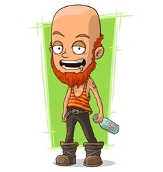 Cartoon bold man with beard and bottle vector image vector image