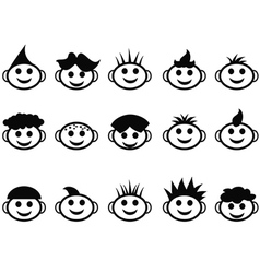 cartoon kids face with hair style icons vector image