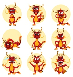 Chinese Dragon Mascot Emoticons Set vector image