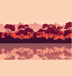 Collection of jungle reflection silhouette scenery vector