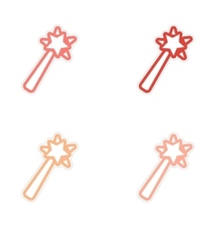 Collection stickers magic wand on a white vector