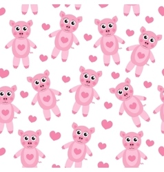 Cute cartoon pig puppy seamless texture children vector