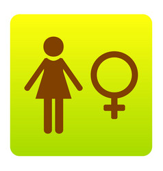 Female sign brown icon at vector