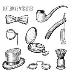 Gentleman accessories hipster or businessman vector