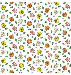 Hand drawn colorful flowers seamless pattern vector