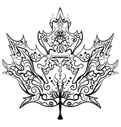 hand drawn maple leaf ornament zen vector image vector image