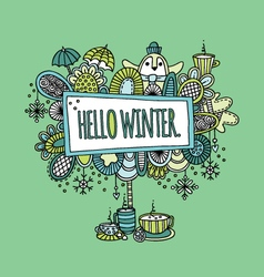 Hello Winter Hand Drawn Doodle Green vector image
