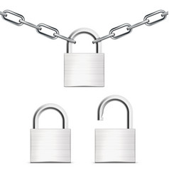 metal chain with padlock close and open ones vector image vector image