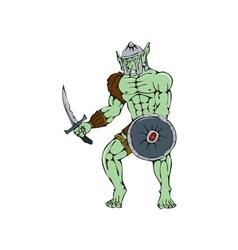 Orc warrior sword shield cartoon vector