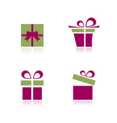 pink and green gifts icon set with reflection vector image vector image