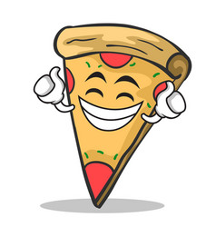 proud face pizza character cartoon vector image