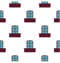 Retro window and flowerbox pattern flat vector
