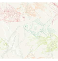 Seamless background with gold fishes vector image