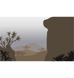 Silhouette of ankylosaurus and spinosaurus in vector