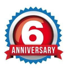 Six years anniversary badge with red ribbon vector