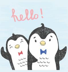 Sketch friendly penguins vector