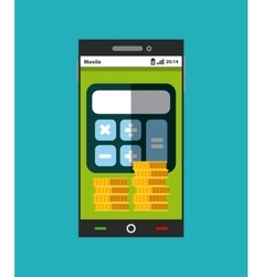 Smartphone with calculator and coins icons vector