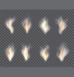 Smoke and fire set of transparent effects vector