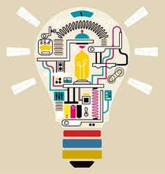Sparks idea in bulb factory vector image