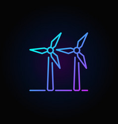 Two wind turbines colorful icon vector