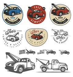 Vintage car tow truck emblems and logos vector