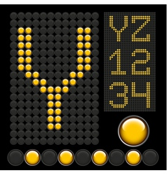 Yellow button letters 5 vector