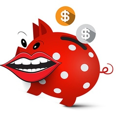 Money Pig Crazy Piggy Bank with Dollar Coins and vector image