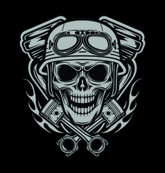 Riders Skulls With Machine and Piston Head vector image