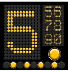 Yellow button letters 6 vector