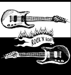 two guitars black and white vector image