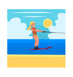 Pretty woman girl water skiing enjoying summer vector