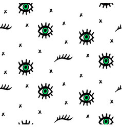 seamless pattern with hand drawn eyes vector image