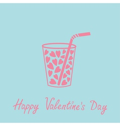 Glass with straw and hearts inside Pink and blue vector image