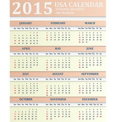 Usa calendar for 2015 american holidays are marked vector